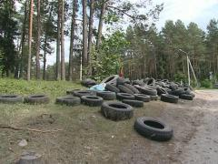 Tires dumped near forest. Nature pollution. - stock footage