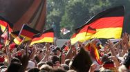 Stock Video Footage of Lockdown, Medium Shot, Soccer fans celebrating at a public viewing, Berlin,