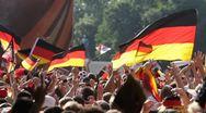 Stock Video Footage of Lockdown, Medium Shot, Soccer fans celebrating at a public viewing, Berlin,