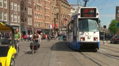 Tram and Cyclists - stock footage