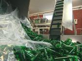 Escalator lift plastics for production PET bottles Stock Footage
