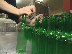 Worker packingt PET bottles. Plastics recycling. Stock Footage