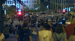 Tel Aviv protest street crowd 10 Stock Footage