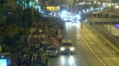 Tel Aviv protest street crowd 1 Stock Footage