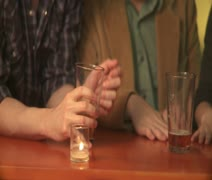 CU, PAN, Midsection, People sitting at a bar Stock Footage