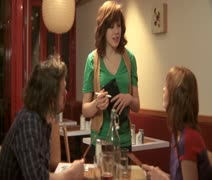 MS, Lockdown, Focus on Foreground, A man and a woman in a cafe ordering from a Stock Footage