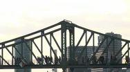 People walking on pedestrian bridge Stock Footage