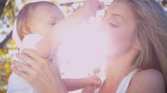 Portrait of Young Mother and Baby Stock Footage