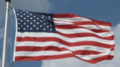 SLO MO, CU, LA of an American Flag flapping in the wind, Washington DC, USA Stock Footage