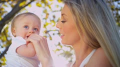 Portrait of Young Mother and Baby Son - stock footage