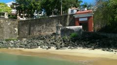 Old San Juan oldest entrance and stone walls Stock Footage