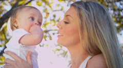 Young Mother and Baby in Close up - stock footage