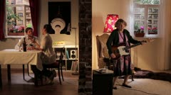 WS of a senior woman playing guitar and irritating her neighbors, split screen Stock Footage