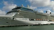 Stock Video Footage of big cruise ship in dock - people - San Juan Harbor