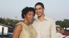 MS, Lockdown, Portrait of a couple on a rooftop terrace Stock Footage