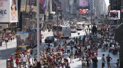 WS, Lockdown, View of traffic and pedestrians around Times Square, Manhattan, - stock footage