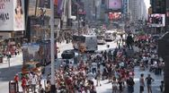 Stock Video Footage of WS, Lockdown, View of traffic and pedestrians around Times Square, Manhattan,