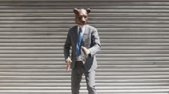 MS, Lockdown, Businessman wearing a bear mask and fighting Stock Footage
