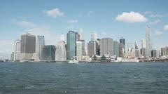 Stock Video Footage of WS, Lockdown, View of Manhattan across the East River, New York City, USA