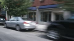 MS, View from a car moving through city streets, New York City, USA Stock Footage