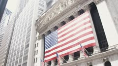 WS, Lockdown, US flag hanging in front of New York Stock Exchange, Manhattan, Stock Footage