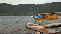 Float Plane at Dock Pan - stock footage