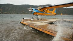 Float Plane at Dock in Wind - stock footage