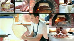 Making Pizza - Pizzeria - Collage - stock footage