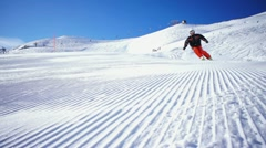 Carving slide on empty skiing piste Stock Footage