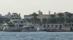 Luxery ships in Dubai harbor Stock Footage