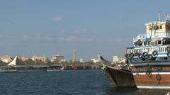 Ferry in Dubai harbor Stock Footage