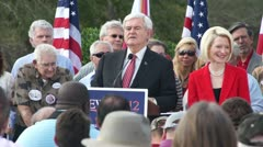 Newt Gingrich Talks About Himself Vs Obama Stock Footage