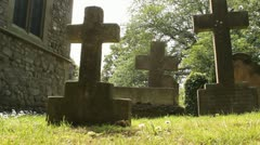 Graveyard in sunshine Stock Footage