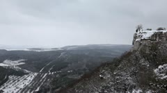 Winter cloudy, windy weather in the mountains (Time Lapse) Stock Footage