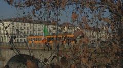Timelapse of Traffic on Vittorio Emanuele bridge, Turin Italy Stock Footage