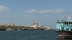 Traditional Dubai harbor Stock Footage