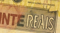 Looping Brazilian Real bank notes Stock Footage