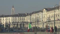 Vittorio Emanuele II Square, Turin Italy Stock Footage