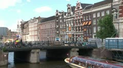 Amsterdam Tourist Boat Stock Footage