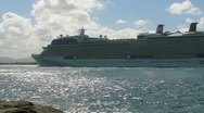 Stock Video Footage of cruise ship enters San Juan Harbor 1