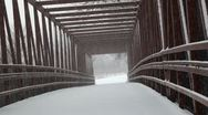 Stock Video Footage of Snowfall trail't overpass bridge.