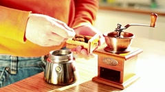 Manual Grinding Coffee in Time Lapse Stock Footage