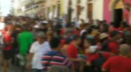 Stock Video Footage of OFF FOCUS crowd in street - San Sebastian Fiesta - Old San Juan