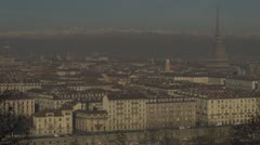 Timelapse of Turin with Mole Antonelliana, Italy Stock Footage