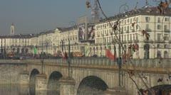 Traffic on Vittorio Emanuele bridge, Turin Italy Stock Footage