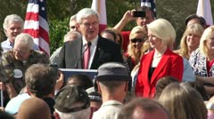 Newt Gingrich Talks About The Florida Primary Stock Footage
