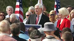 Newt Gingrich Talks About Obama Stock Footage