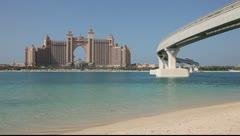 Atlantis Hotel and Palm Jumeirah Monorail, Dubai - stock footage