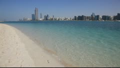Beach and Abu Dhabi skyline, United Arab Emirates Stock Footage