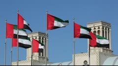 Flags of the United Arab Emirates in Sharjah Stock Footage